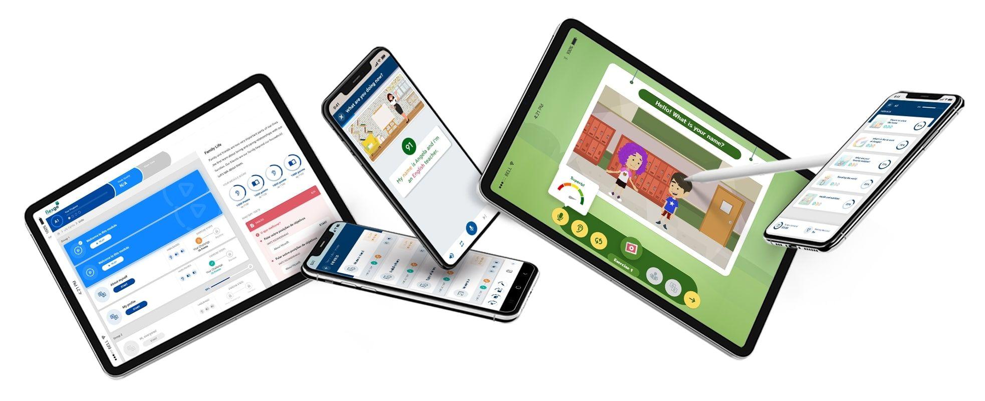 Imagens das telas da plataforma de ensino de inglês da Flexge